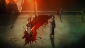 Shiki davanti al corpo di una vittima